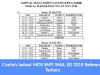 Contoh Jadwal MOS SMP, SMA, SD 2018 Referensi Terbaru