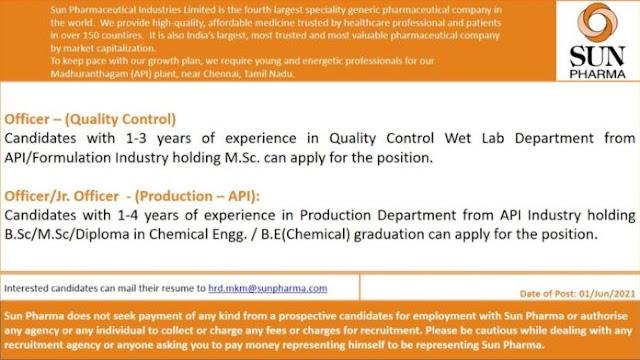 Sun Pharma | Urgent openings in Production/QC at Chennai | Send CV