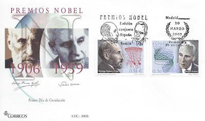 Sobre PDC de los sellos de la serie Premios Nobel, dedicados a Severo Ochoa y Santiago Ramón y Cajal en 2003