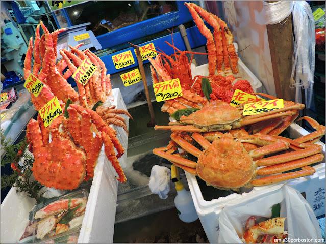 Marisco en el Tsukiji's Outer Market, Tokio