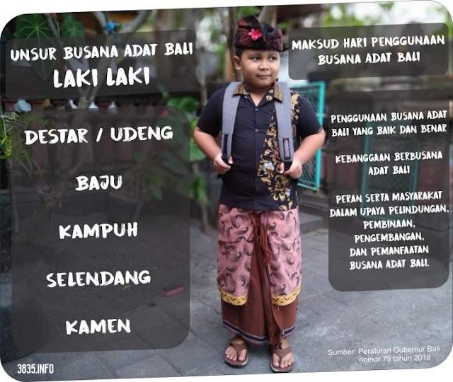 Unsur Busana Adat Bali Untuk Laki laki
