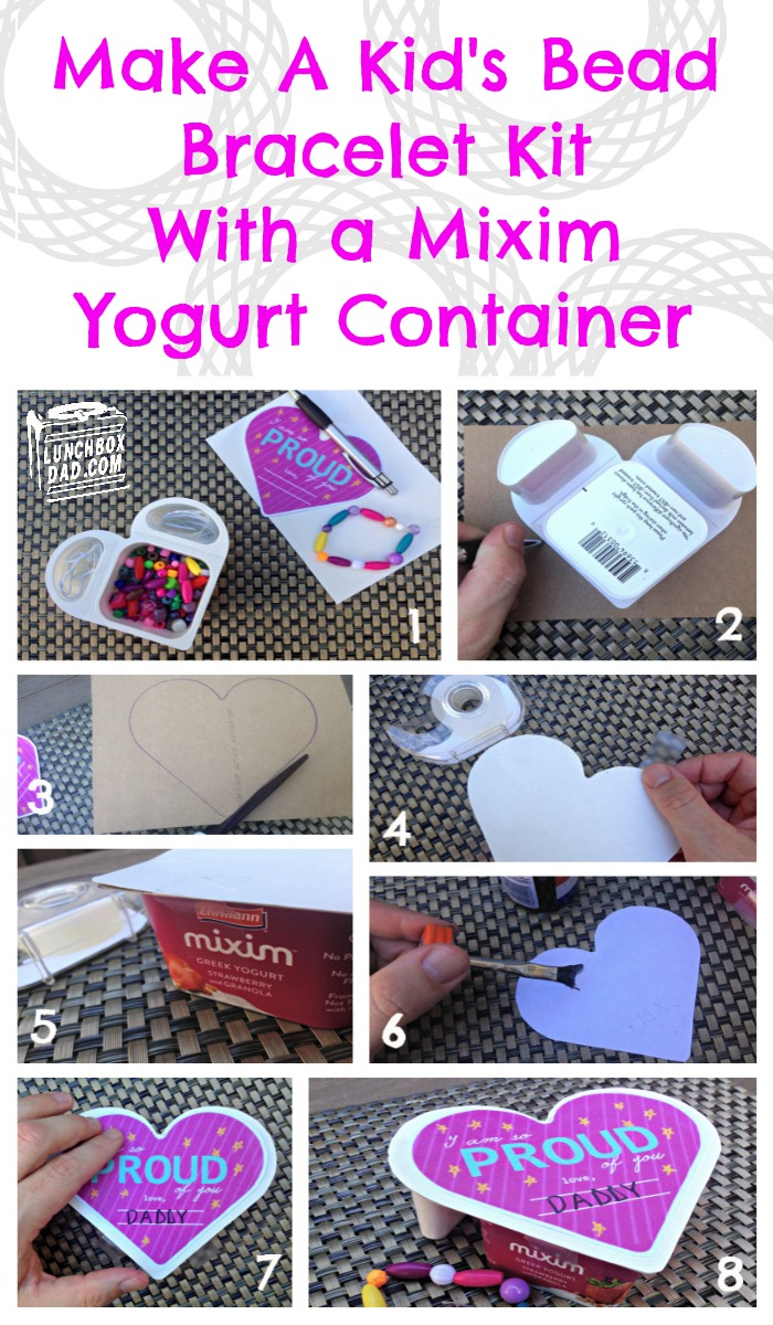 Make A Kid's Bead Kit From Mixim Yogurt Container #MiximLove #ad