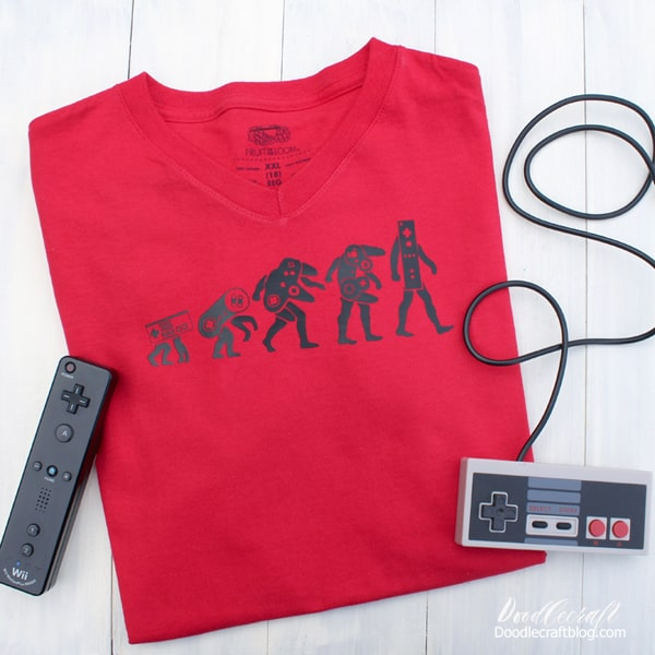 The evolution of the Nintendo controller video game inspired shirt diy.