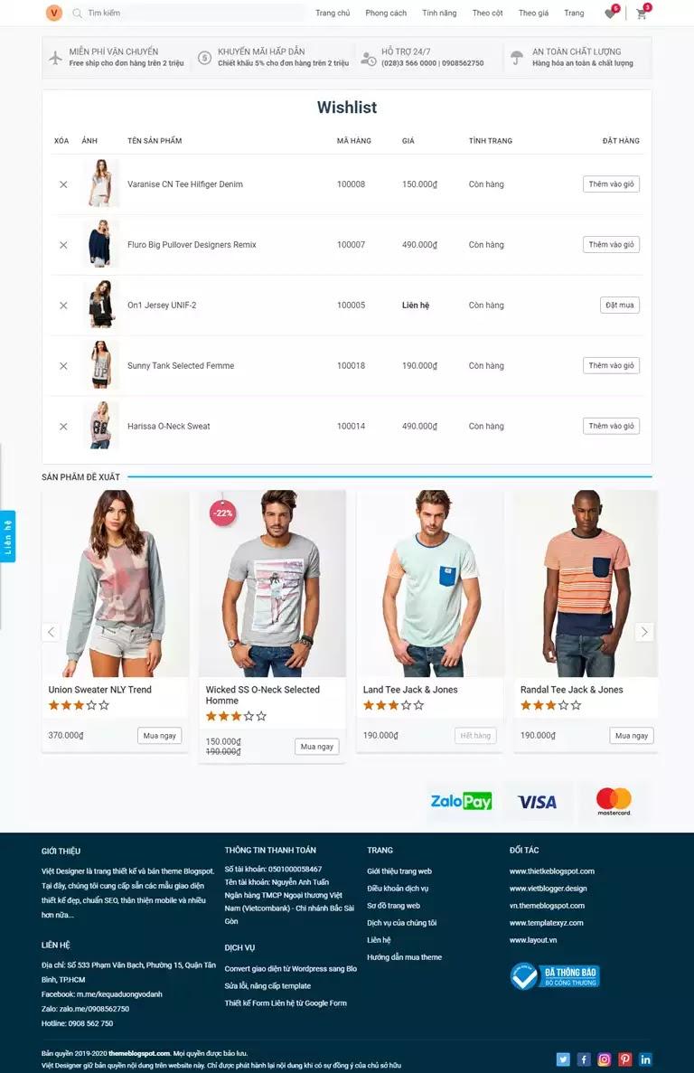 Trang yêu thich sản phẩm giao diện website bán hang blogspot