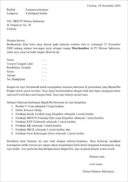 Contoh Surat Lamaran Pekerjaan Untuk Merchandiser (Fresh Graduate)