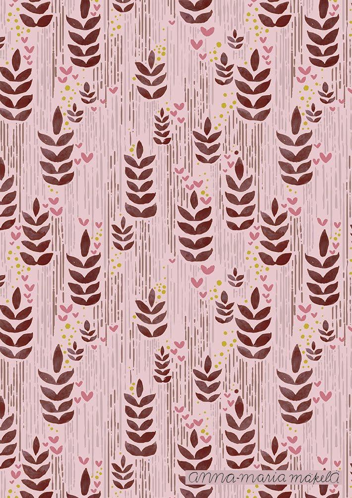 Kuosisuunnittelu, Anna-Maria Mäkelä, Annan tirpat, kukkakuosi, kangaskuosi, punainen, luonto vesivärit