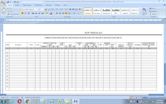 Format isian daftar urut kepangkatan (DUK) guru dan pegawai sekolah