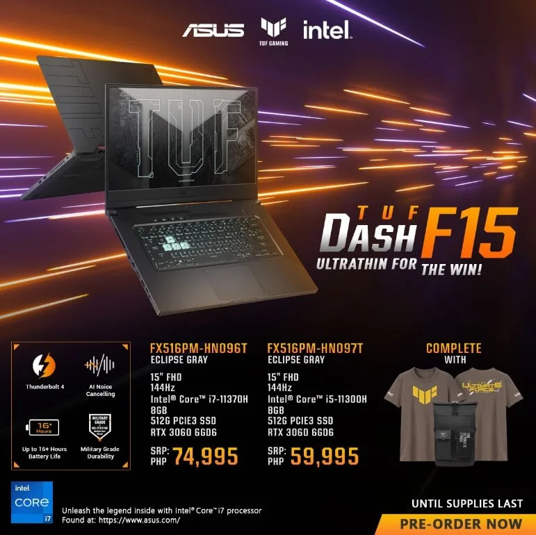 ASUS TUF Dash F15 with 11th Gen Intel CPU and NVIDIA RTX 3060 GPU Now Available for Pre-Order; Price Starts at Php59,995