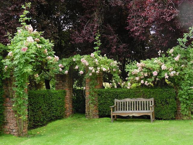 cegła w ogrodzie, drewniana ławka, róże pnące