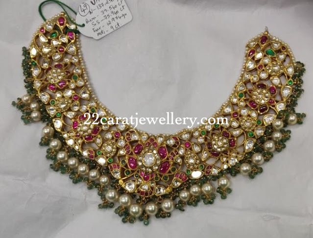Lotus Kundan Choker with Pearls