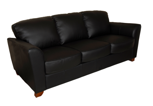 A contemporary style sofa with clean lines, wood legs reminiscent of the art deco period, and covered with black leather.