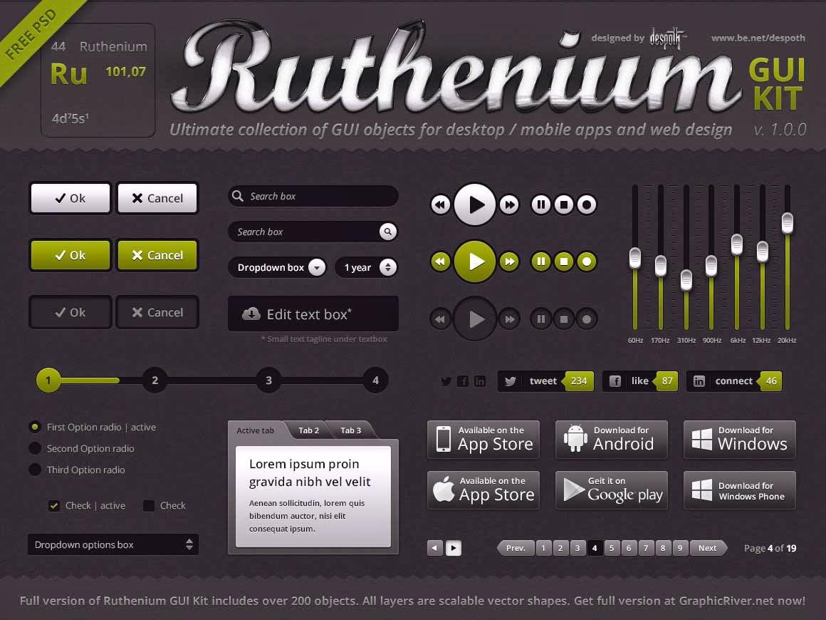 Ruthenium GUI Kit FREE PSD