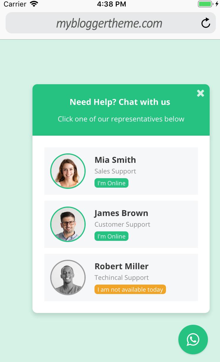 WordPress WhatsApp chat support plugin