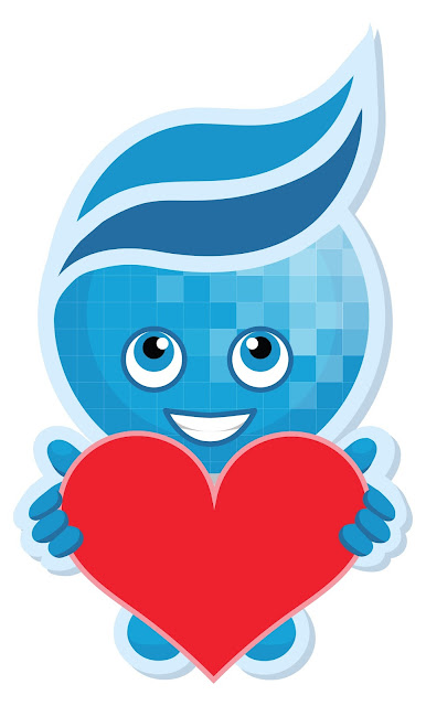 Image of Rio Salado Mascot Splash holding a big red heart.