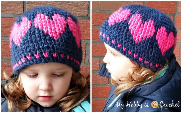 crochet hat with love, crochet hat with hearts going around