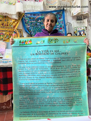 Bertha Servín Barriga de la Cooperativa Vasco de Quiroga hacen Bordados Artesanales