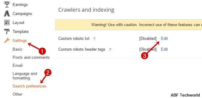 Robots.txt File को Blog में कैसे Add करें