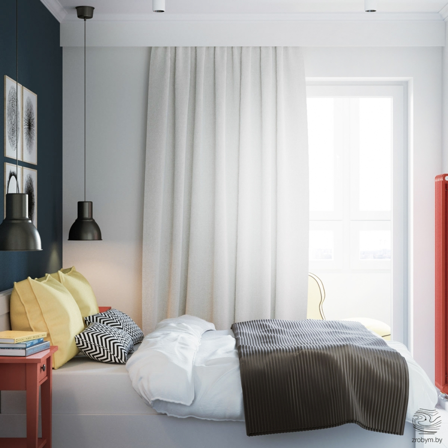 Kolorowe mieszkanie w Mińsku, wystrój wnętrz, wnętrza, urządzanie mieszkania, dom, home decor, dekoracje, aranżacje, biel, white, kolory, colors, bedroom, sypialnia