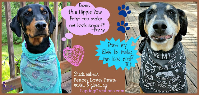 Who Wore It Best - Penny or Tut? Check out our #review of #PeaceLovePaws tees & more + get a #couponcode for 20% off your order + enter our #giveaway ©LapdogCreations