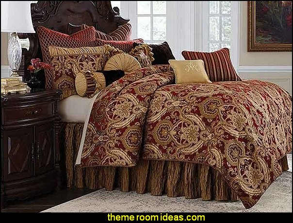 AICO Furniture, Lafayette 12-Piece Queen Comforter Set Red  Luxury Bedding - decorating with luxury bedding -  boudoir bedrooms - Discount Luxury Bedding - Adult bedding - Luxury Duvet Covers - Luxury Comforter sets