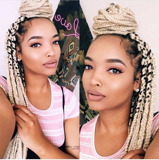 Box braids mixed with black and blonde