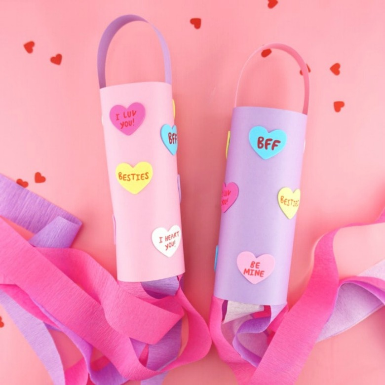 heart windsock preschool valentine craft