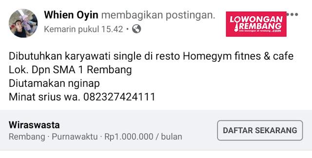Lowongan Kerja Karyawati Resto Homegym Fitnes&Cafe Rembang