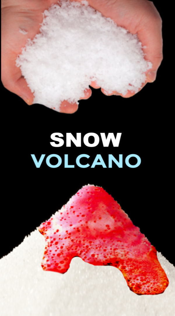 Take winter play to the next level and make a snow volcano!  This experiment is great for preschool and elementary. #snow #snowcrafts #snowactivitiesforpreschool #snowexperimentsforkids #snowvolcano #snowvolcanoforkids #snowvolcanohowtomake #snowvolcanoexperiment #volcanoprojectforkids #volcanoexperiment #winterscienceexperimentforkids #growingajeweledrose #activitiesforkids
