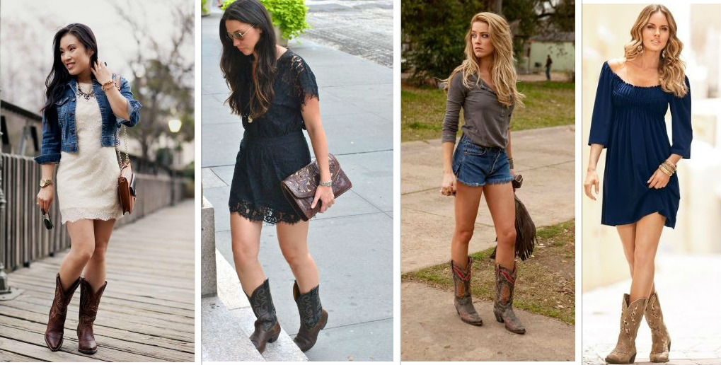 Wear Cowgirl Boots with dresses