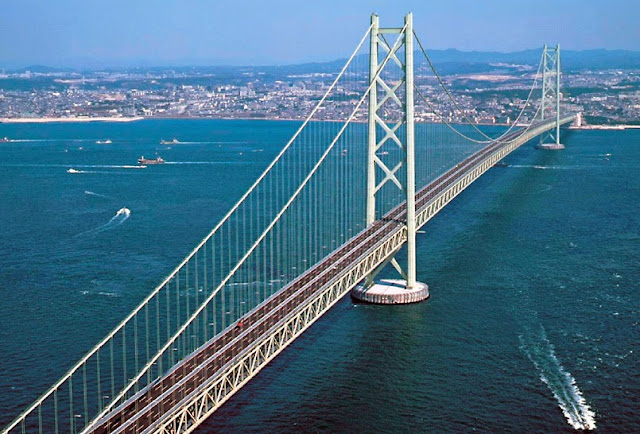 Image result for Akashi Kaikyō Bridge, Japan