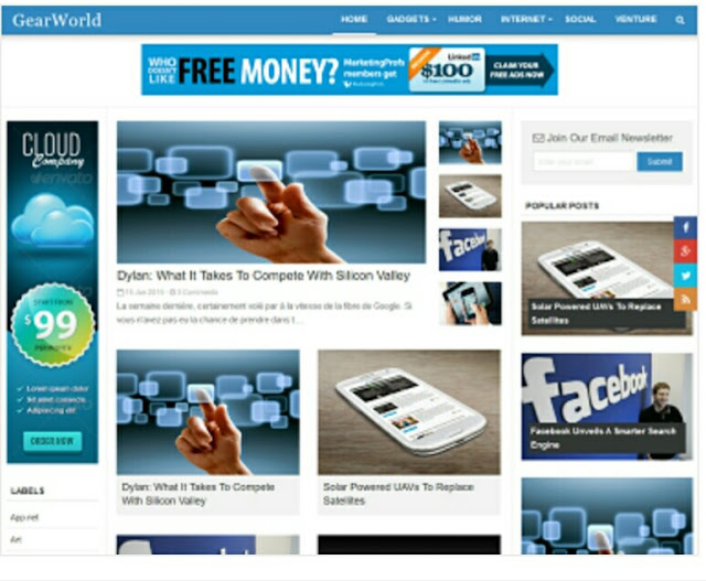 Gear World responsive blogger template