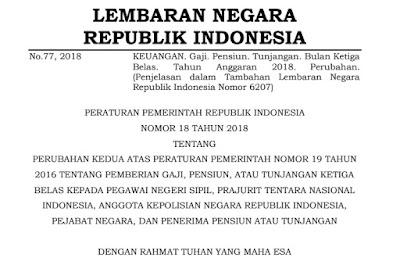 Peraturan Pemerintah Republik Indonesia  Nomor 18 Tahun 2018