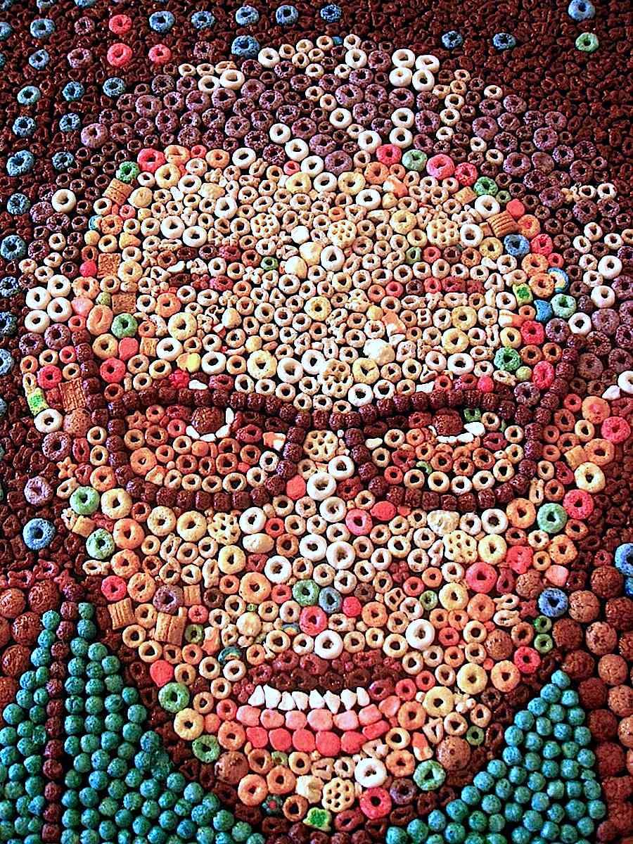 Ryan Alexiev breakfast cereal art, a portrait of Larry King