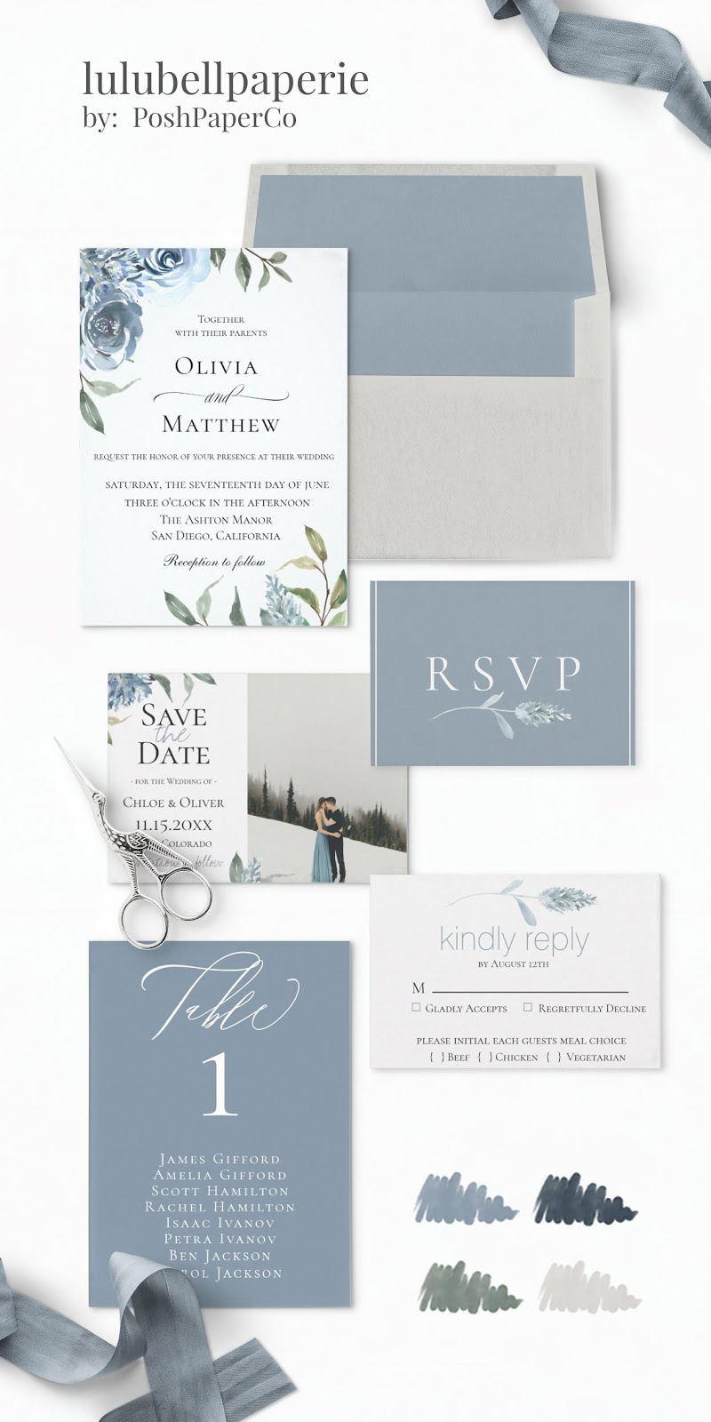 Dusty Blue, Green, Navy and Gray Botanical Watercolor Wedding Invitation Suite