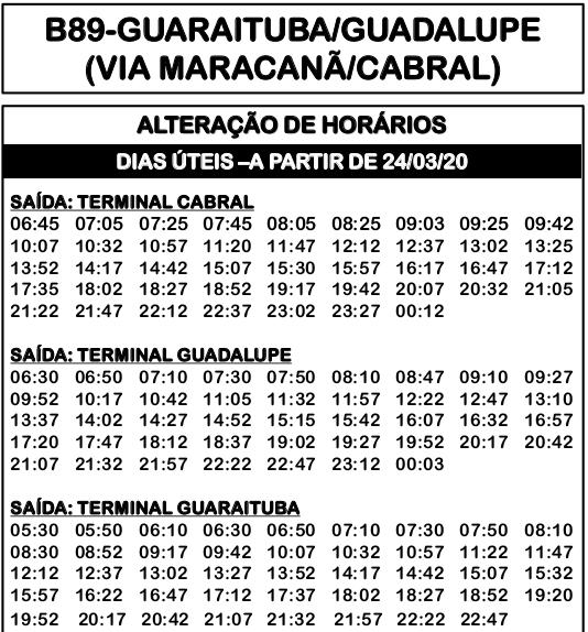 Horário de ônibus B89 GUARAITUBA/GUADALUPE (VIA MARACANÃ/CABRAL) 2020