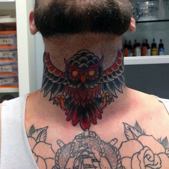 Colorful Owl Tattoo on Neck