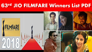 63rd JIO Film Fare Awards Winners List PDF Download