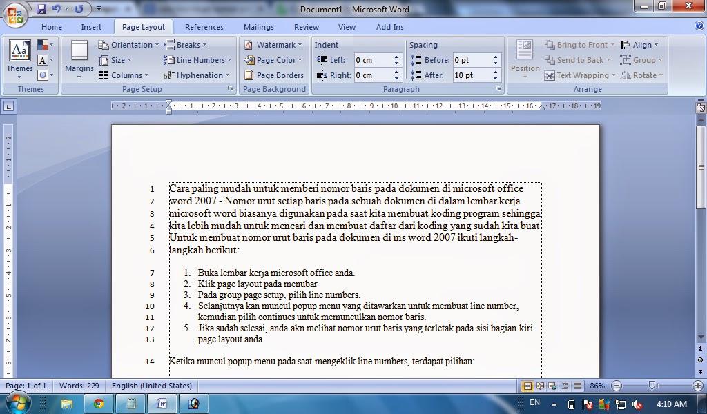 Cara membuat nomor urut baris pada dokumen di ms word