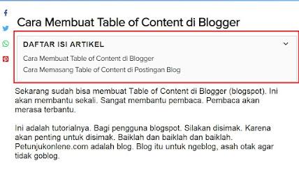 script Membuat Daftar Isi - TOC, Table of Content pada Postingan Blogspot
