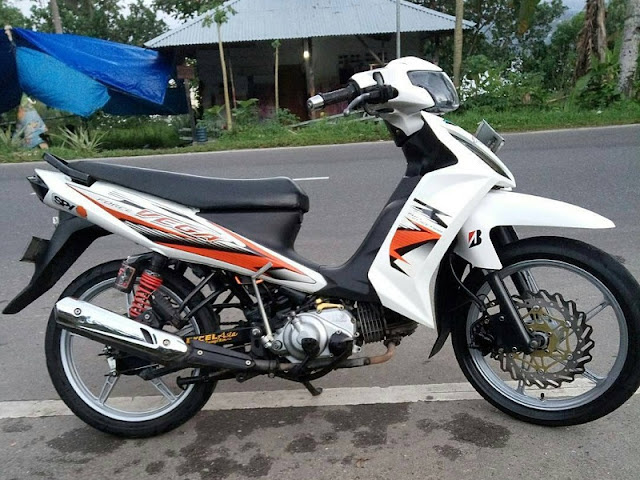 Modifikasi Vega RR Putih Modif Simple Velg Racing