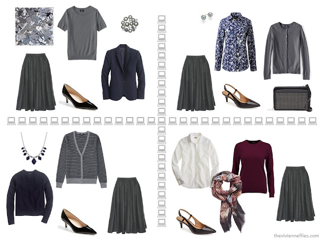 Four business outfits based on a grey pleated skirt, from a capsule wardrobe of navy, grey and burgundy.