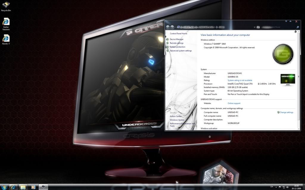 Windows 7 gamer edition (iso) (x64 bits) (dvd | english.