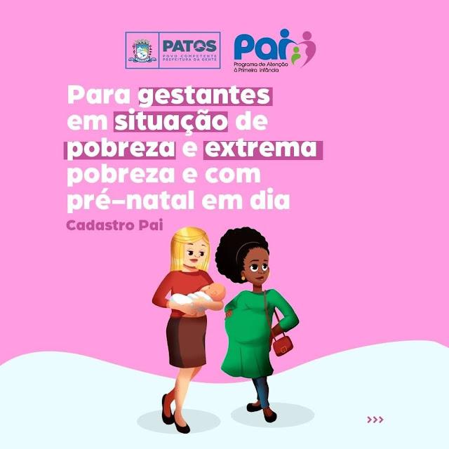 Prefeitura de Patos inicia cadastro de gestantes no Programa de Atenção à Primeira Infância nesta segunda-feira, 20