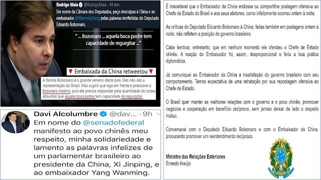 ALCOLUMBRE E MAIA DEVEM SER ENQUADRADOS NA LEI DE SEGURANÇA NACIONAL POR APOIAR HOSTILIDADES CHINESA AO BRASIL