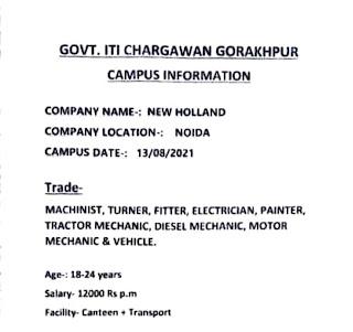 ITI Jobs Campus Placement Drive at Govt. ITI Chargawan, Gorakhpur, Uttar Pradesh For New Holland Company