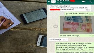 Kocak! Gegara Anak Belajar di Rumah Via Online, Orang Tua Ini Bayar SPP Lewat WhatsApp