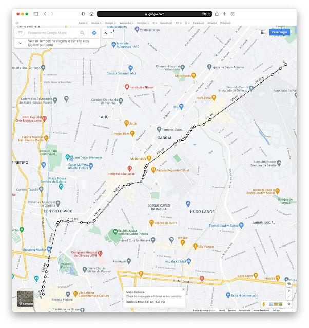 Mapa do traçado da antiga Estrada da Graciosa