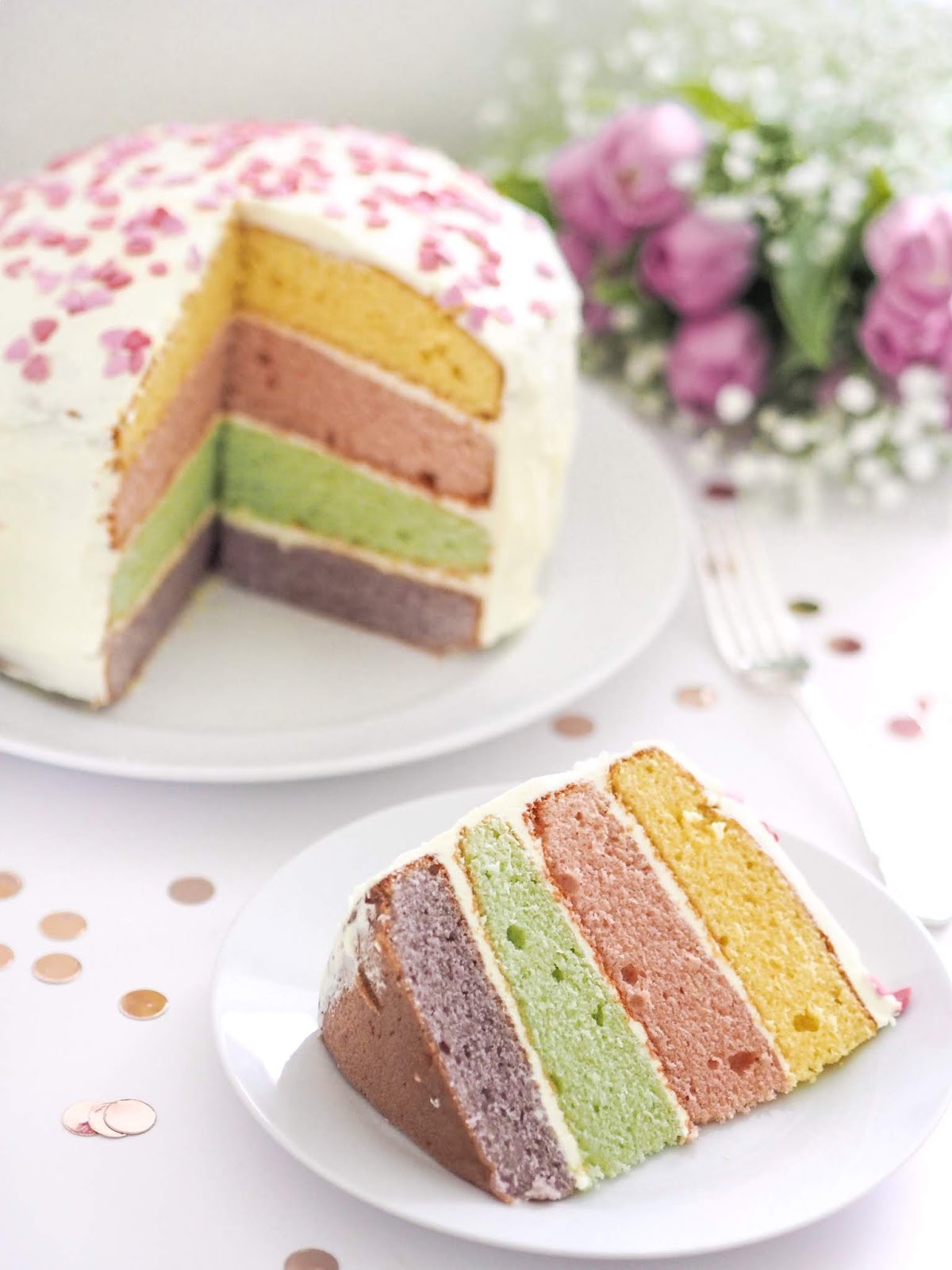 Pastel Layer Cake Recipe, Sponge Cake, Baking, Food Blogger, Cake Recipe, Pastel Sponge Cake, Cake Aesthetic, Lifestyle Photography, Pastel Colours, UK Food Blogger