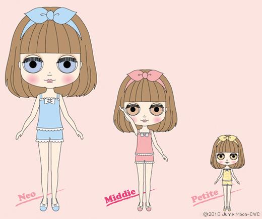 Da esquerda para direita, boneca Blythe grande/padrão (30cm), boneca Middie Blythe (20cm) e boneca Petite Blythe (11cm)
