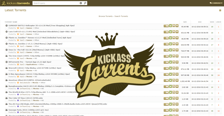 New Kickass Torrents site